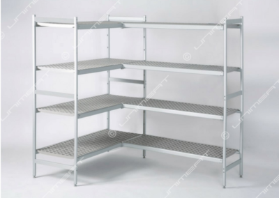 Modular shelving in anodized aluminum