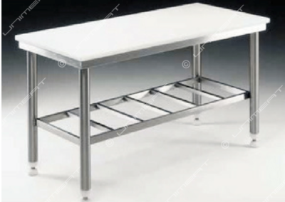 Inox table in alimentary polyethylene